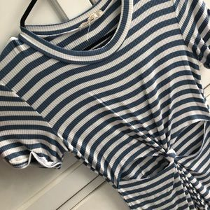 Light Blue and White Striped Dress